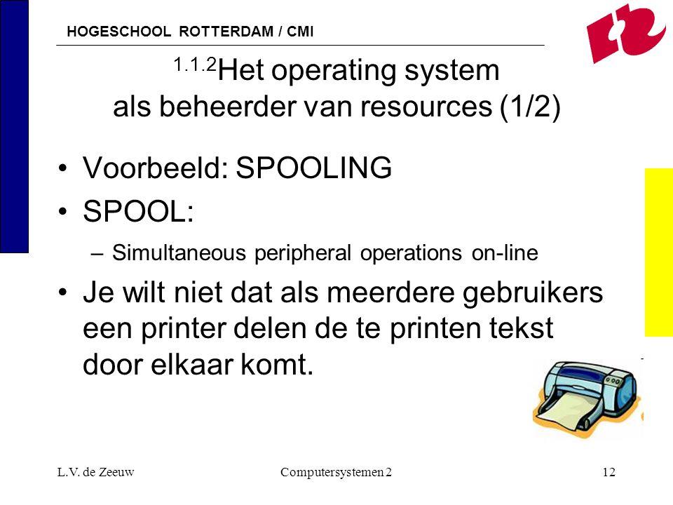 HOGESCHOOL ROTTERDAM / CMI L.V. de ZeeuwComputersystemen 212 1.1.2 Het operating system als beheerder van resources (1/2) Voorbeeld: SPOOLING SPOOL: –