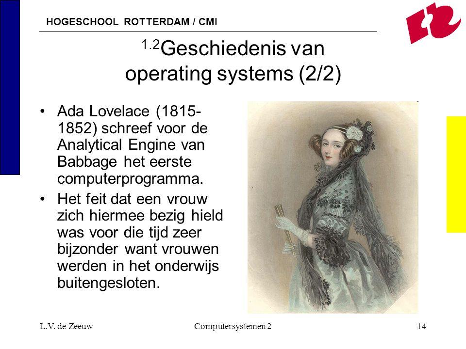 HOGESCHOOL ROTTERDAM / CMI L.V. de ZeeuwComputersystemen 214 1.2 Geschiedenis van operating systems (2/2) Ada Lovelace (1815- 1852) schreef voor de An