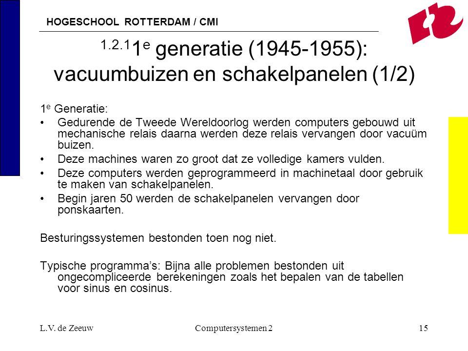 HOGESCHOOL ROTTERDAM / CMI L.V. de ZeeuwComputersystemen 215 1.2.1 1 e generatie (1945-1955): vacuumbuizen en schakelpanelen (1/2) 1 e Generatie: Gedu