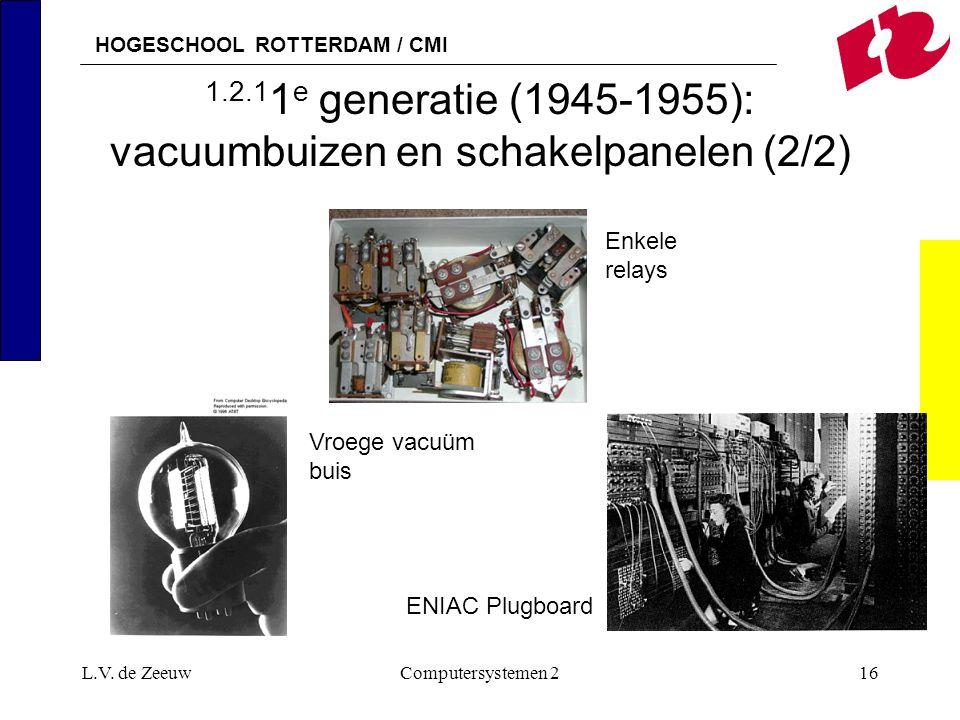 HOGESCHOOL ROTTERDAM / CMI L.V. de ZeeuwComputersystemen 216 1.2.1 1 e generatie (1945-1955): vacuumbuizen en schakelpanelen (2/2) Vroege vacuüm buis