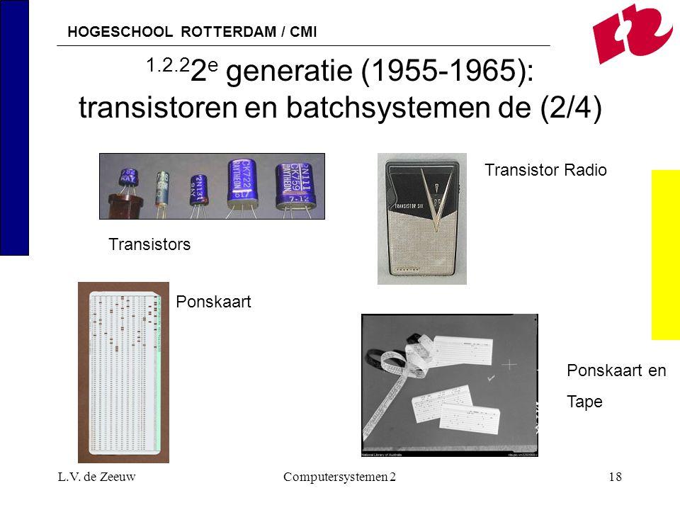 HOGESCHOOL ROTTERDAM / CMI L.V. de ZeeuwComputersystemen 218 1.2.2 2 e generatie (1955-1965): transistoren en batchsystemen de (2/4) Ponskaart Transis