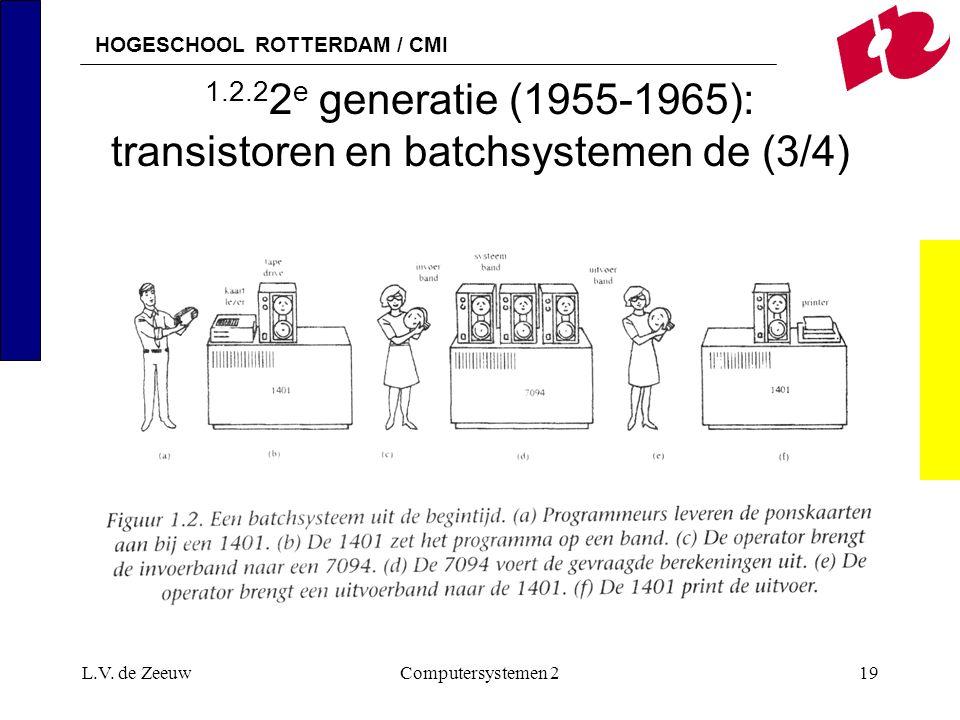 HOGESCHOOL ROTTERDAM / CMI L.V. de ZeeuwComputersystemen 219 1.2.2 2 e generatie (1955-1965): transistoren en batchsystemen de (3/4)