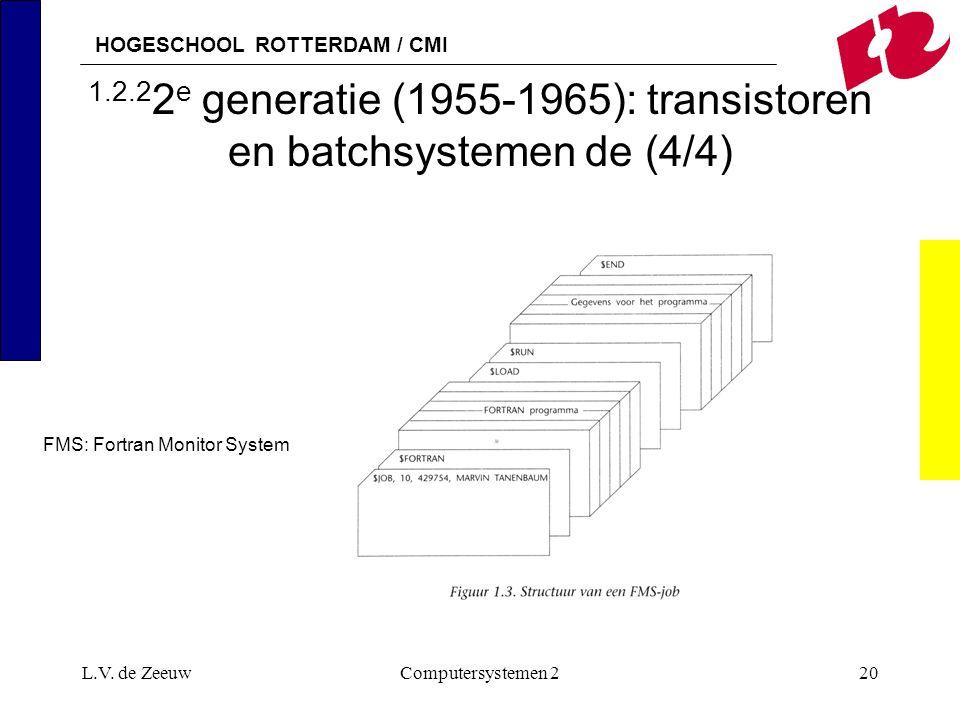 HOGESCHOOL ROTTERDAM / CMI L.V. de ZeeuwComputersystemen 220 1.2.2 2 e generatie (1955-1965): transistoren en batchsystemen de (4/4) FMS: Fortran Moni