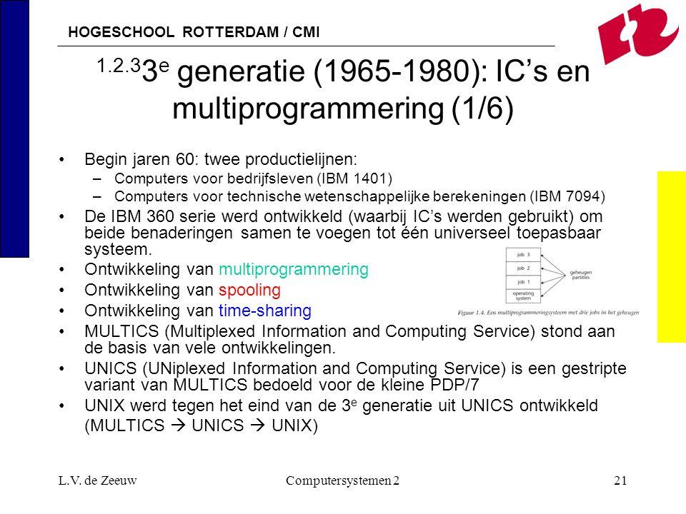 HOGESCHOOL ROTTERDAM / CMI L.V. de ZeeuwComputersystemen 221 1.2.3 3 e generatie (1965-1980): IC's en multiprogrammering (1/6) Begin jaren 60: twee pr