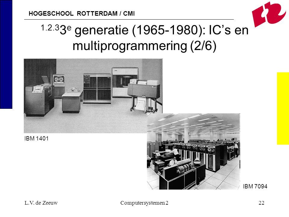 HOGESCHOOL ROTTERDAM / CMI L.V. de ZeeuwComputersystemen 222 1.2.3 3 e generatie (1965-1980): IC's en multiprogrammering (2/6) IBM 7094 IBM 1401