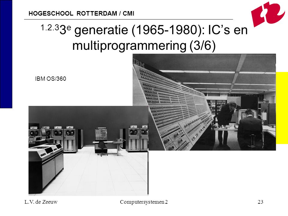 HOGESCHOOL ROTTERDAM / CMI L.V. de ZeeuwComputersystemen 223 1.2.3 3 e generatie (1965-1980): IC's en multiprogrammering (3/6) IBM OS/360