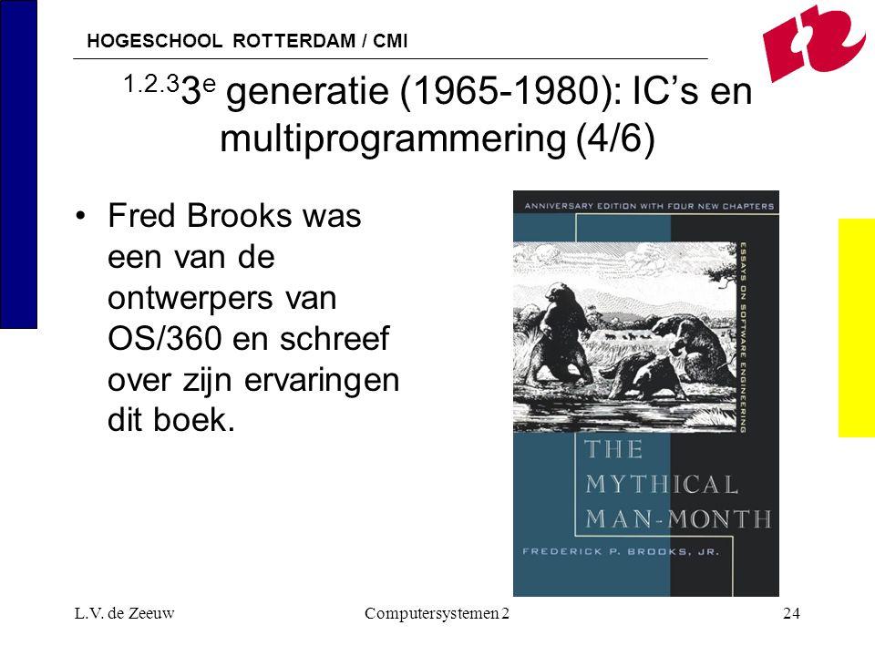 HOGESCHOOL ROTTERDAM / CMI L.V. de ZeeuwComputersystemen 224 1.2.3 3 e generatie (1965-1980): IC's en multiprogrammering (4/6) Fred Brooks was een van