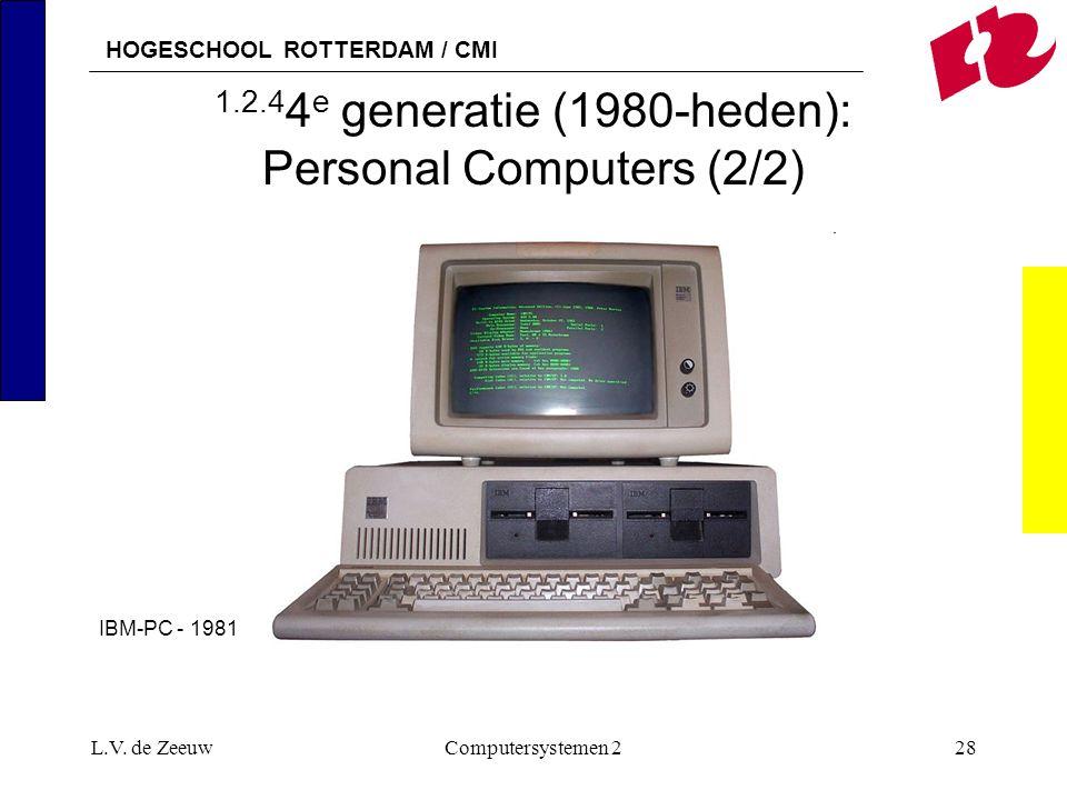 HOGESCHOOL ROTTERDAM / CMI L.V. de ZeeuwComputersystemen 228 1.2.4 4 e generatie (1980-heden): Personal Computers (2/2) IBM-PC - 1981