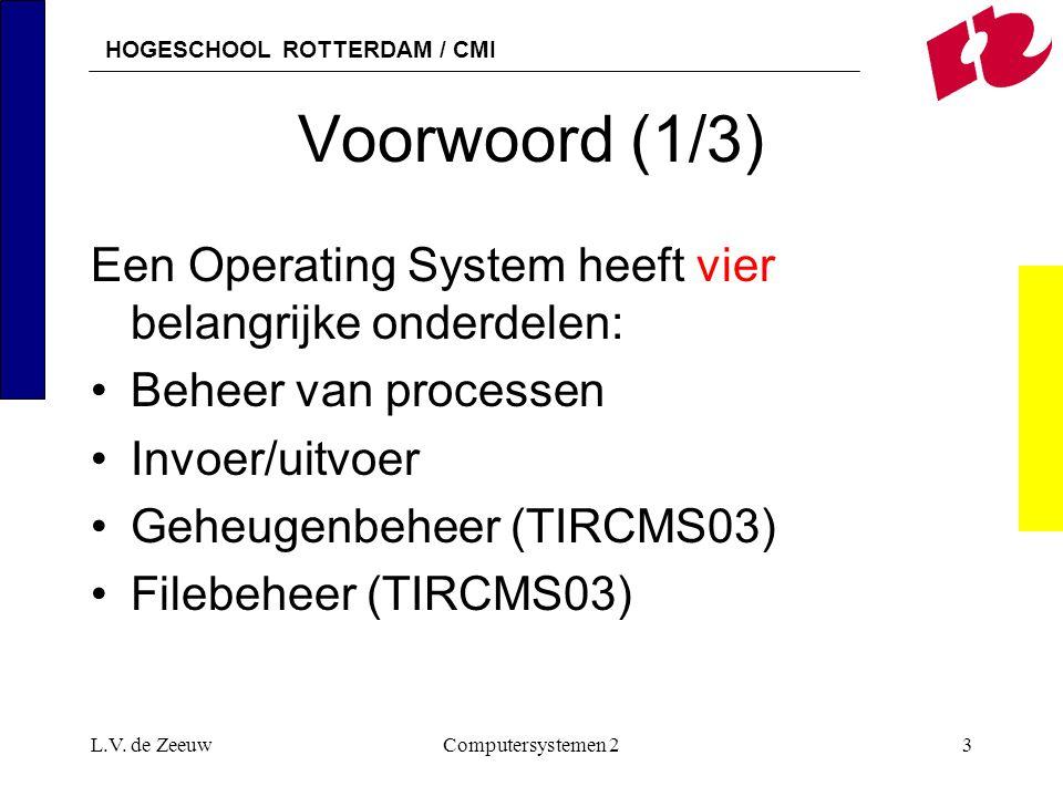 HOGESCHOOL ROTTERDAM / CMI L.V. de ZeeuwComputersystemen 23 Voorwoord (1/3) Een Operating System heeft vier belangrijke onderdelen: Beheer van process
