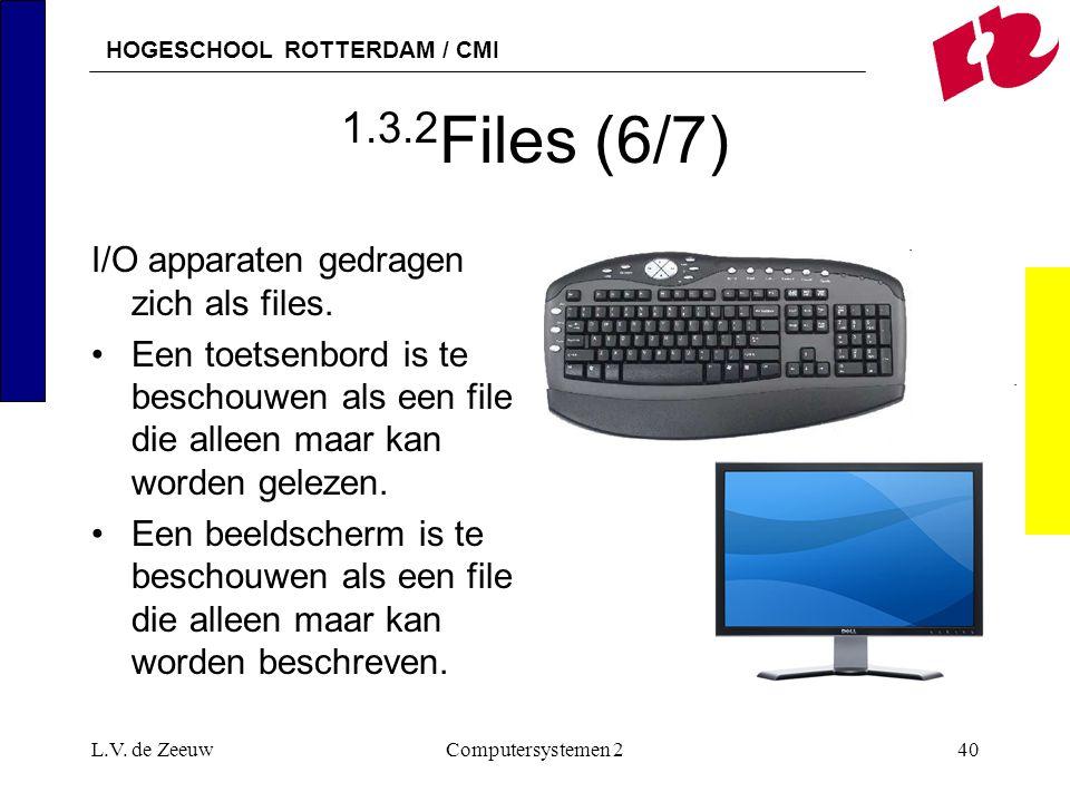 HOGESCHOOL ROTTERDAM / CMI L.V. de ZeeuwComputersystemen 240 1.3.2 Files (6/7) I/O apparaten gedragen zich als files. Een toetsenbord is te beschouwen