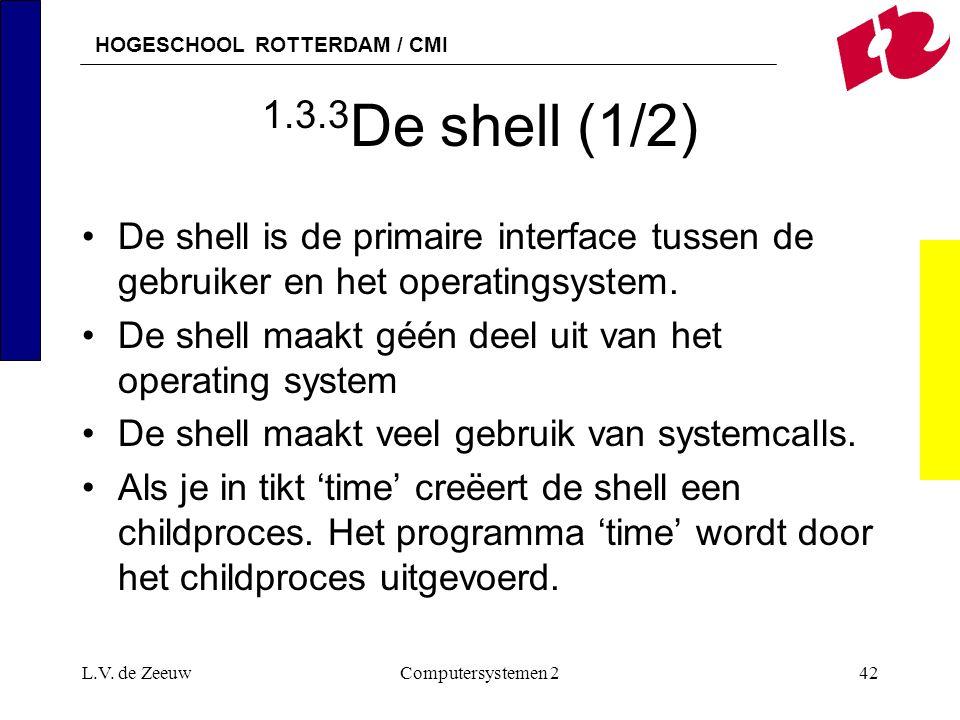 HOGESCHOOL ROTTERDAM / CMI L.V. de ZeeuwComputersystemen 242 1.3.3 De shell (1/2) De shell is de primaire interface tussen de gebruiker en het operati