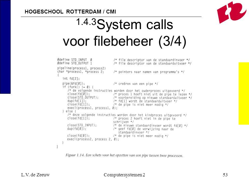 HOGESCHOOL ROTTERDAM / CMI L.V. de ZeeuwComputersystemen 253 1.4.3 System calls voor filebeheer (3/4)