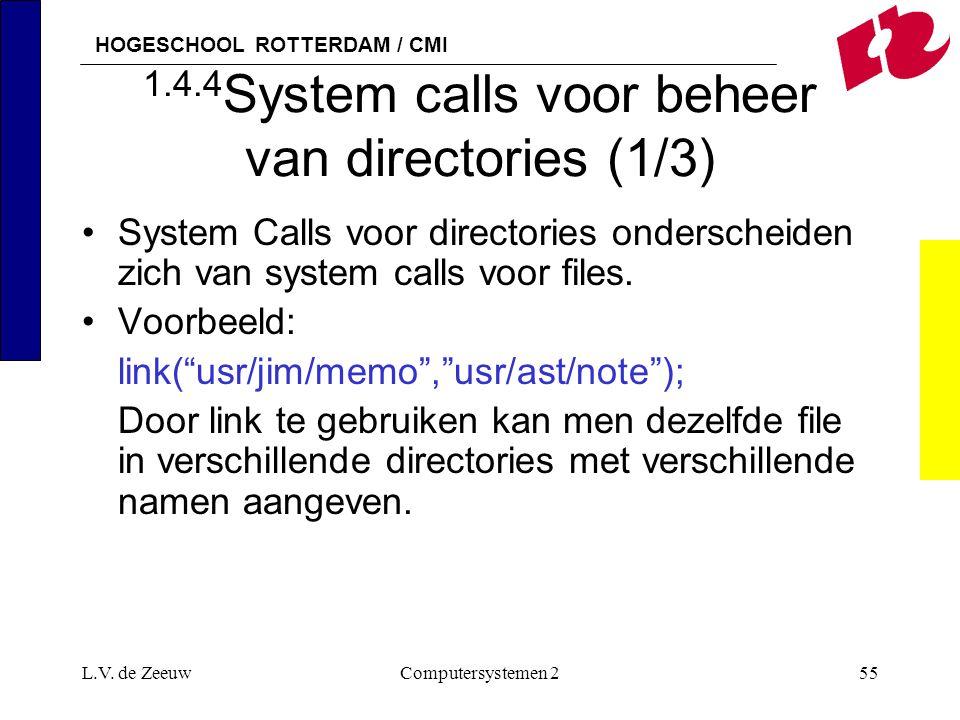 HOGESCHOOL ROTTERDAM / CMI L.V. de ZeeuwComputersystemen 255 1.4.4 System calls voor beheer van directories (1/3) System Calls voor directories onders