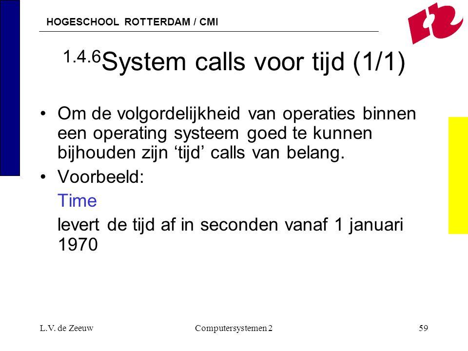 HOGESCHOOL ROTTERDAM / CMI L.V. de ZeeuwComputersystemen 259 1.4.6 System calls voor tijd (1/1) Om de volgordelijkheid van operaties binnen een operat