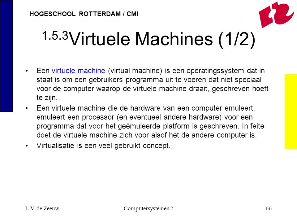 HOGESCHOOL ROTTERDAM / CMI L.V. de ZeeuwComputersystemen 266 1.5.3 Virtuele Machines (1/2) Een virtuele machine (virtual machine) is een operatingssys