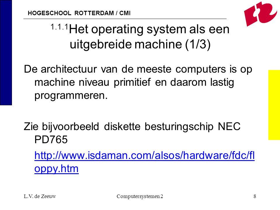 HOGESCHOOL ROTTERDAM / CMI L.V. de ZeeuwComputersystemen 28 1.1.1 Het operating system als een uitgebreide machine (1/3) De architectuur van de meeste