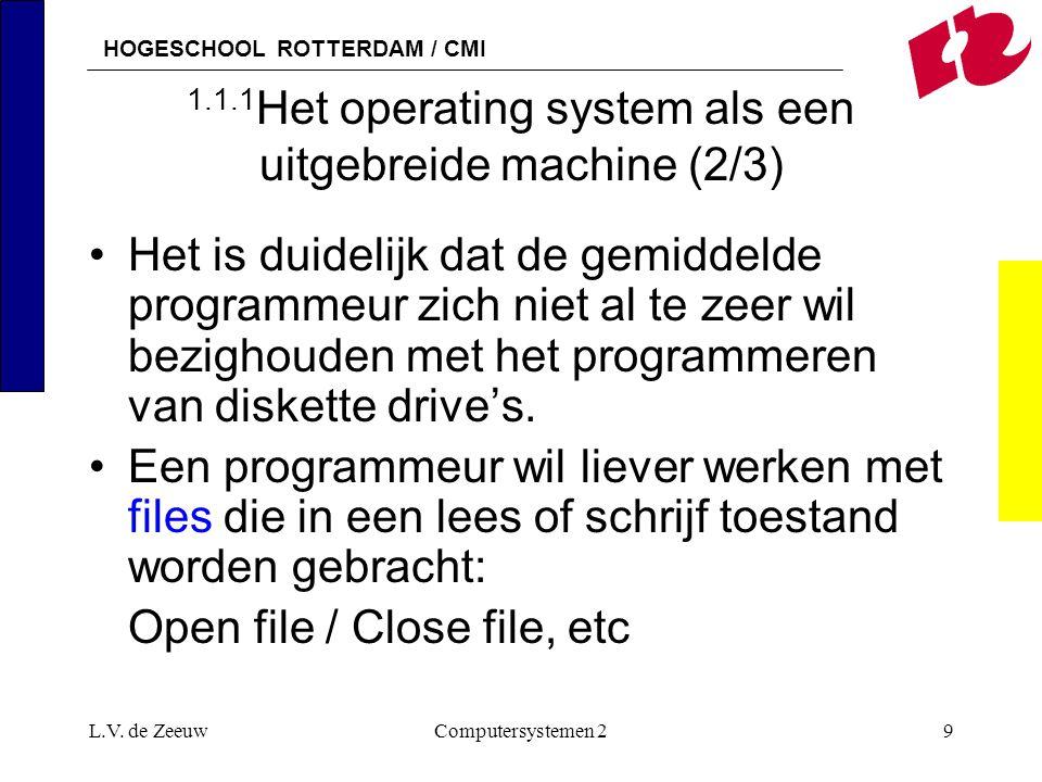 HOGESCHOOL ROTTERDAM / CMI L.V. de ZeeuwComputersystemen 29 1.1.1 Het operating system als een uitgebreide machine (2/3) Het is duidelijk dat de gemid