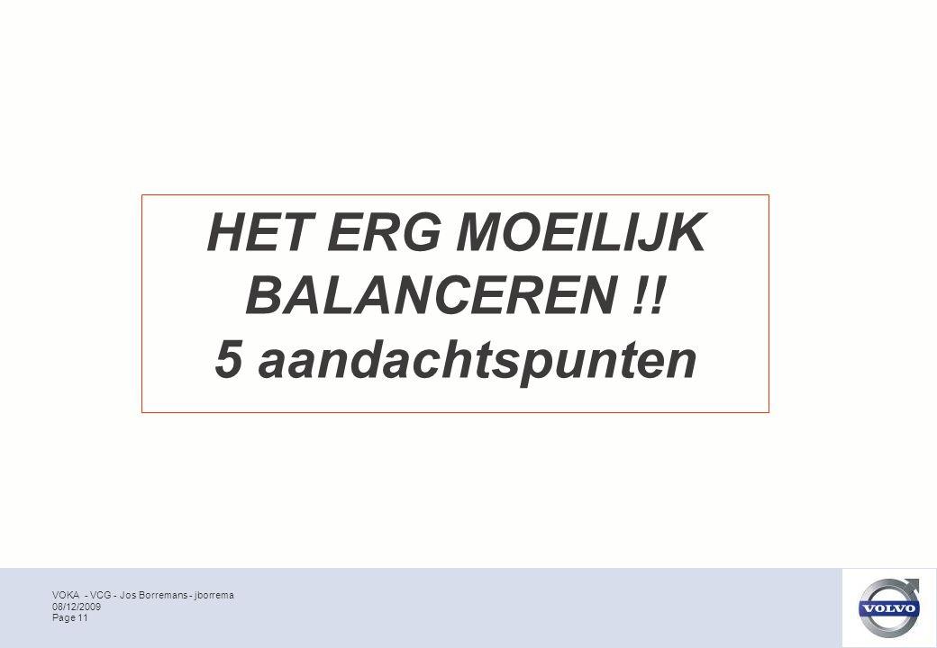 VOKA - VCG - Jos Borremans - jborrema Page 11 08/12/2009 HET ERG MOEILIJK BALANCEREN !.