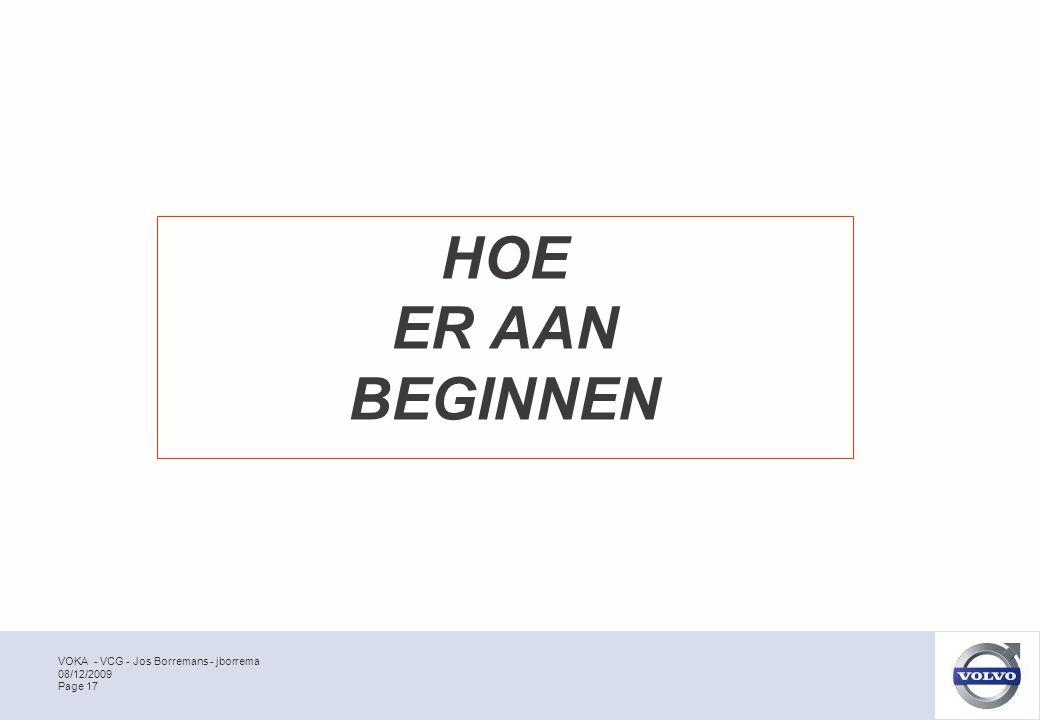 VOKA - VCG - Jos Borremans - jborrema Page 17 08/12/2009 HOE ER AAN BEGINNEN