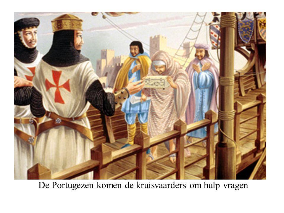De Portugezen komen de kruisvaarders om hulp vragen