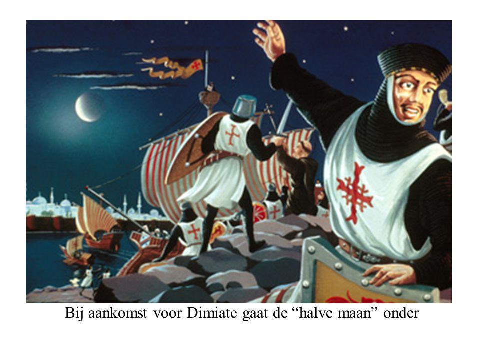 """Bij aankomst voor Dimiate gaat de """"halve maan"""" onder"""