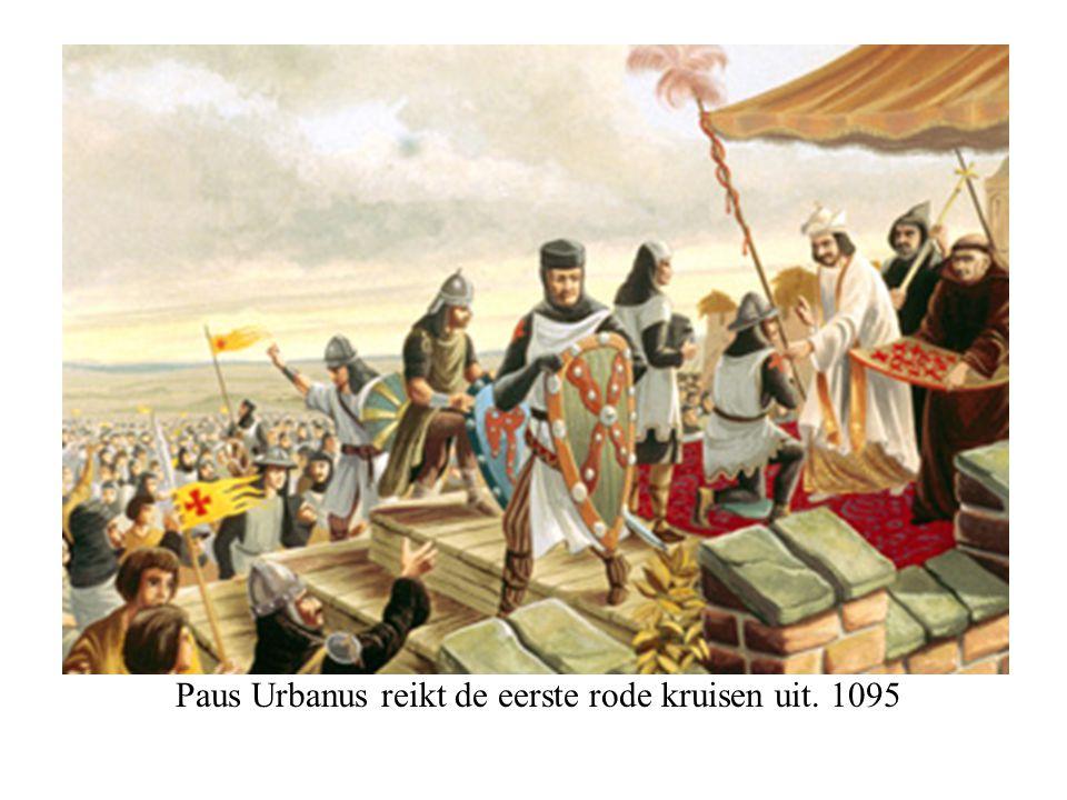 Paus Urbanus reikt de eerste rode kruisen uit. 1095