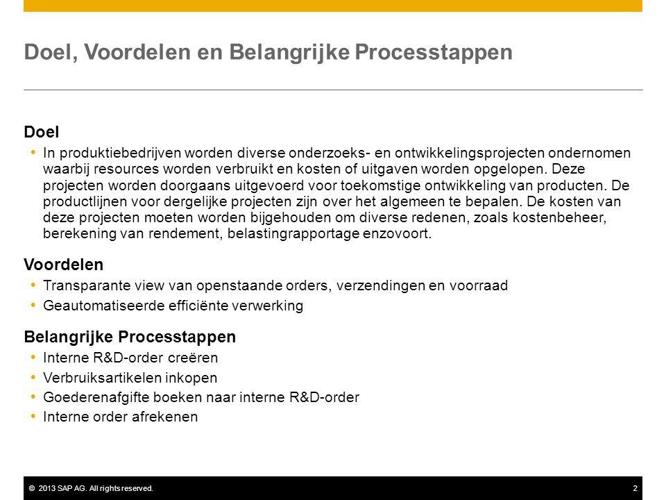 ©2013 SAP AG. All rights reserved.2 Doel, Voordelen en Belangrijke Processtappen Doel  In produktiebedrijven worden diverse onderzoeks- en ontwikkeli