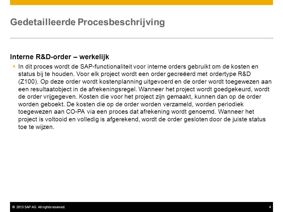 ©2013 SAP AG. All rights reserved.4 Gedetailleerde Procesbeschrijving Interne R&D-order – werkelijk  In dit proces wordt de SAP-functionaliteit voor