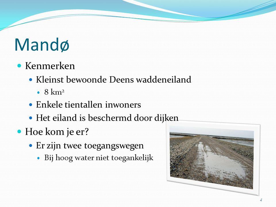 Kenmerken Kleinst bewoonde Deens waddeneiland 8 km 2 Enkele tientallen inwoners Het eiland is beschermd door dijken Hoe kom je er? Er zijn twee toegan