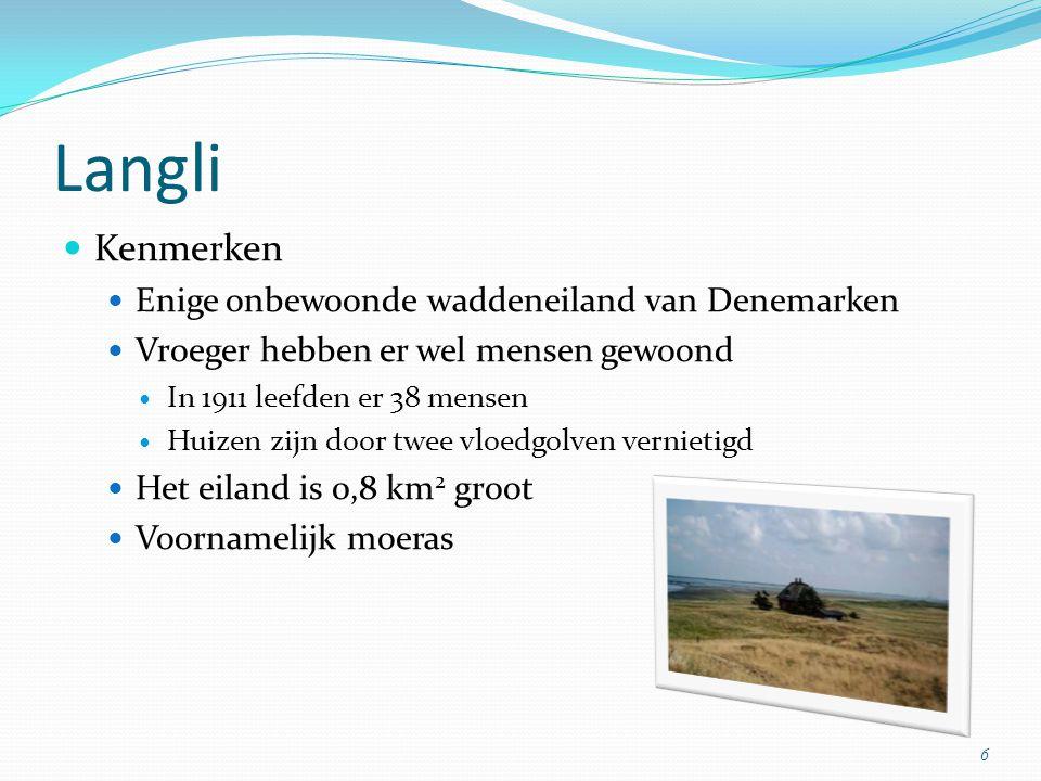 Langli Kenmerken Enige onbewoonde waddeneiland van Denemarken Vroeger hebben er wel mensen gewoond In 1911 leefden er 38 mensen Huizen zijn door twee vloedgolven vernietigd Het eiland is 0,8 km 2 groot Voornamelijk moeras 6