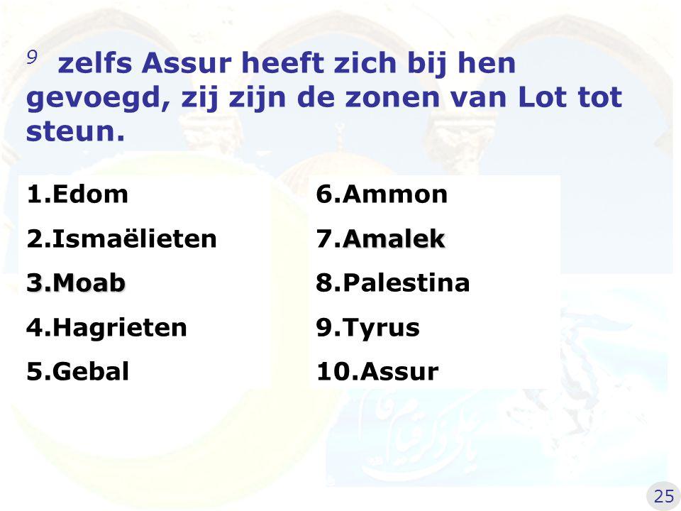 9 zelfs Assur heeft zich bij hen gevoegd, zij zijn de zonen van Lot tot steun. 6.Ammon Amalek 7.Amalek 8.Palestina 9.Tyrus 10.Assur 1.Edom 2.Ismaëliet