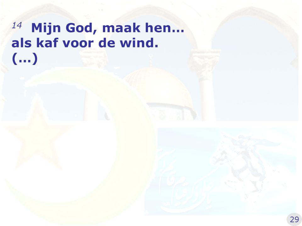 14 Mijn God, maak hen… als kaf voor de wind. (…) 29