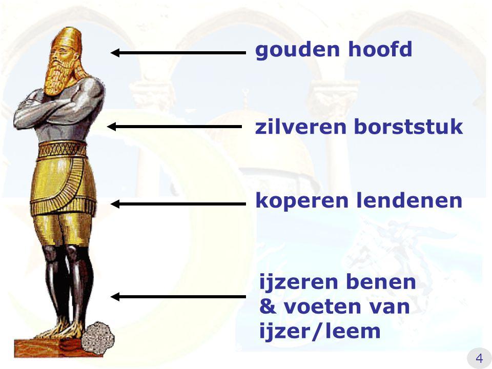 gouden hoofd zilveren borststuk koperen lendenen ijzeren benen & voeten van ijzer/leem 4