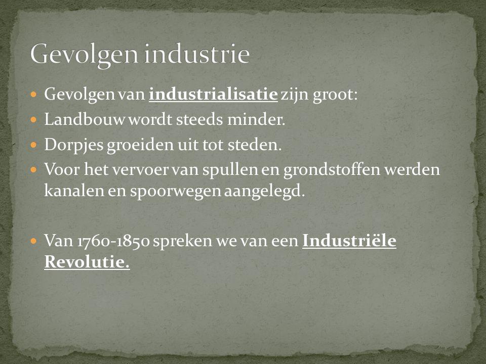 Gevolgen van industrialisatie zijn groot: Landbouw wordt steeds minder.