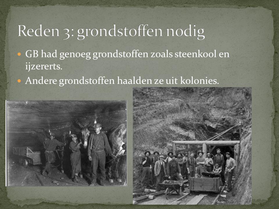 GB had genoeg grondstoffen zoals steenkool en ijzererts. Andere grondstoffen haalden ze uit kolonies.