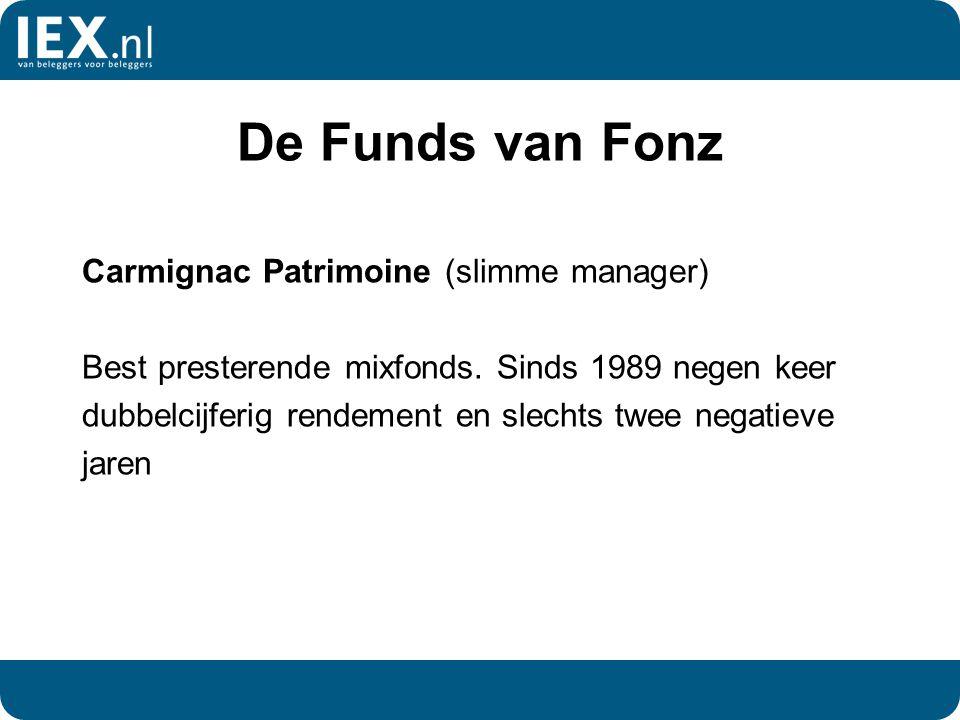 De Funds van Fonz Carmignac Patrimoine (slimme manager) Best presterende mixfonds. Sinds 1989 negen keer dubbelcijferig rendement en slechts twee nega