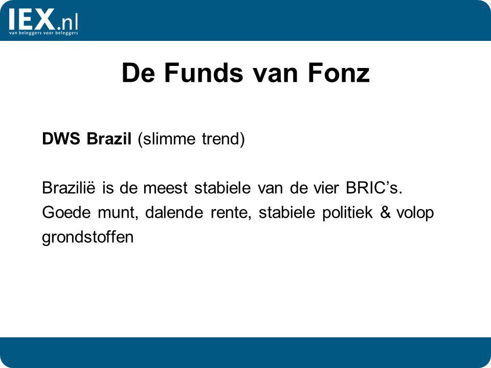 De Funds van Fonz DWS Brazil (slimme trend) Brazilië is de meest stabiele van de vier BRIC's. Goede munt, dalende rente, stabiele politiek & volop gro