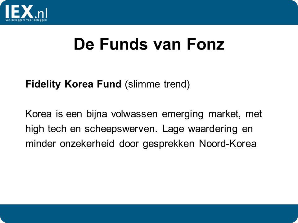 De Funds van Fonz Fidelity Korea Fund (slimme trend) Korea is een bijna volwassen emerging market, met high tech en scheepswerven. Lage waardering en