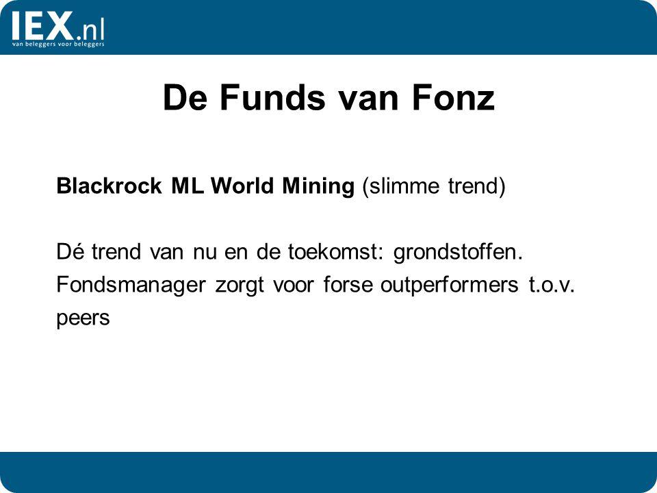 De Funds van Fonz Blackrock ML World Mining (slimme trend) Dé trend van nu en de toekomst: grondstoffen. Fondsmanager zorgt voor forse outperformers t