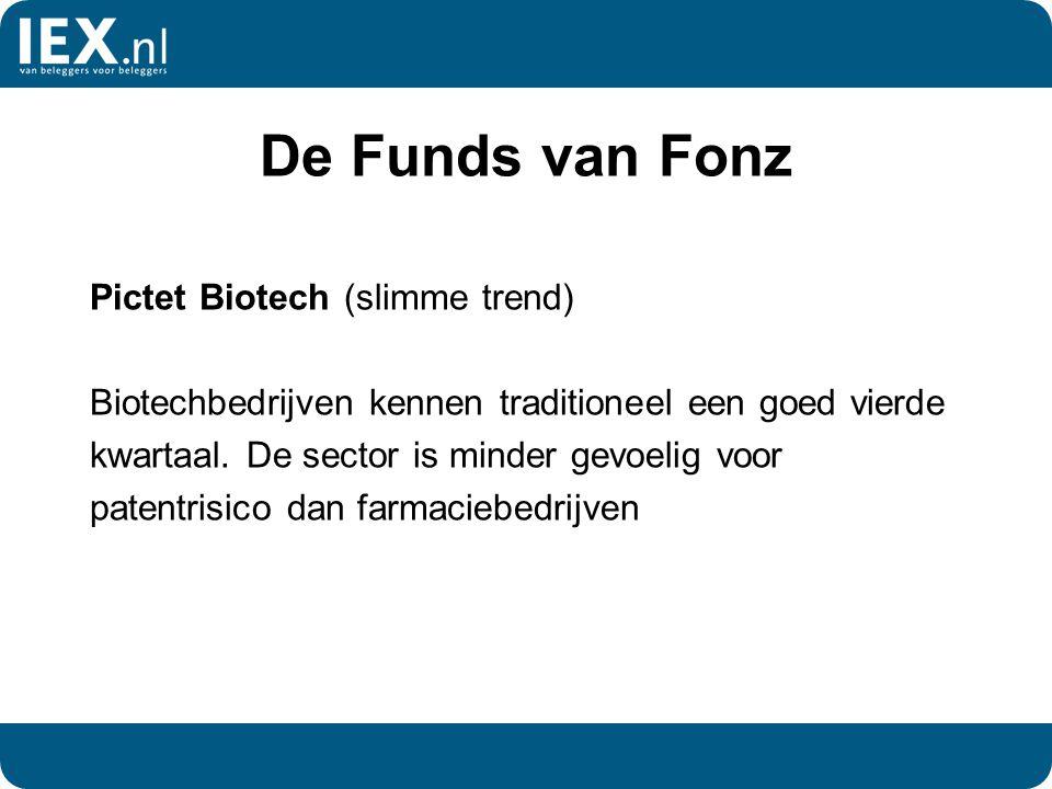 De Funds van Fonz Pictet Biotech (slimme trend) Biotechbedrijven kennen traditioneel een goed vierde kwartaal. De sector is minder gevoelig voor paten