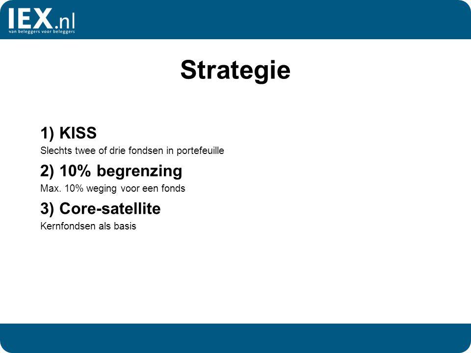 Strategie 1) KISS Slechts twee of drie fondsen in portefeuille 2) 10% begrenzing Max. 10% weging voor een fonds 3) Core-satellite Kernfondsen als basi