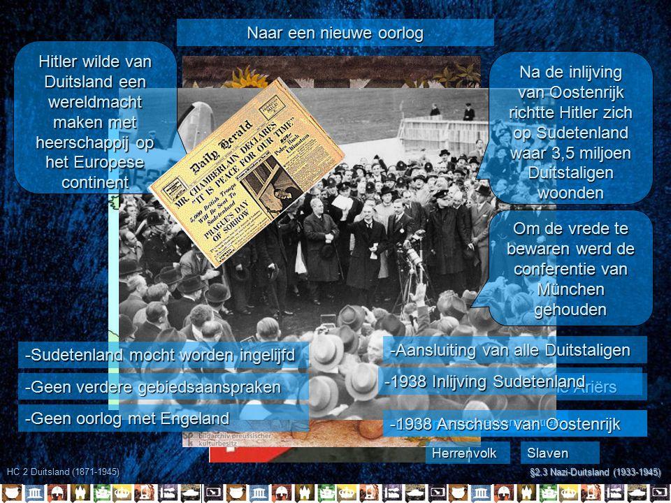 HC 2 Duitsland (1871-1945) §2.3 Nazi-Duitsland (1933-1945) Naar een nieuwe oorlog -Samenvoeging van alle Ariërs -Lebensraum HerrenvolkSlaven Appeasementpolitiek -1938 Inlijving Sudetenland -Aansluiting van alle Duitstaligen -1938 Anschuss van Oostenrijk Hitler wilde van Duitsland een wereldmacht maken met heerschappij op het Europese continent Na de inlijving van Oostenrijk richtte Hitler zich op Sudetenland waar 3,5 miljoen Duitstaligen woonden Om de vrede te bewaren werd de conferentie van München gehouden -Sudetenland mocht worden ingelijfd -Geen verdere gebiedsaanspraken -Geen oorlog met Engeland