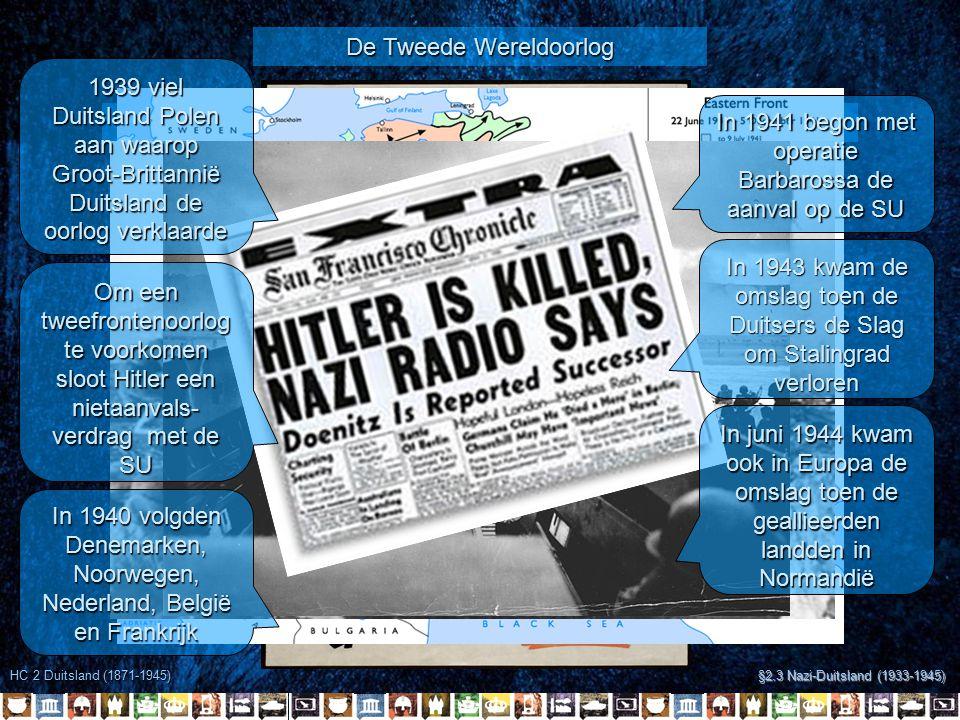 HC 2 Duitsland (1871-1945) §2.3 Nazi-Duitsland (1933-1945) De Tweede Wereldoorlog Had Chamberlain kunnen weten dat Hitler niet zou stoppen.