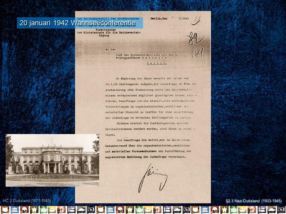 HC 2 Duitsland (1871-1945) §2.3 Nazi-Duitsland (1933-1945) 20 januari 1942 Wannseeconferentie