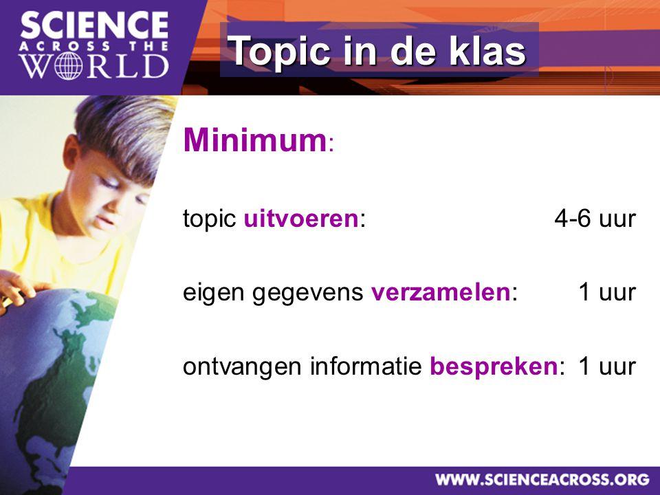 18 Topic in de klas Minimum : topic uitvoeren:4-6 uur eigen gegevens verzamelen: 1 uur ontvangen informatie bespreken:1 uur