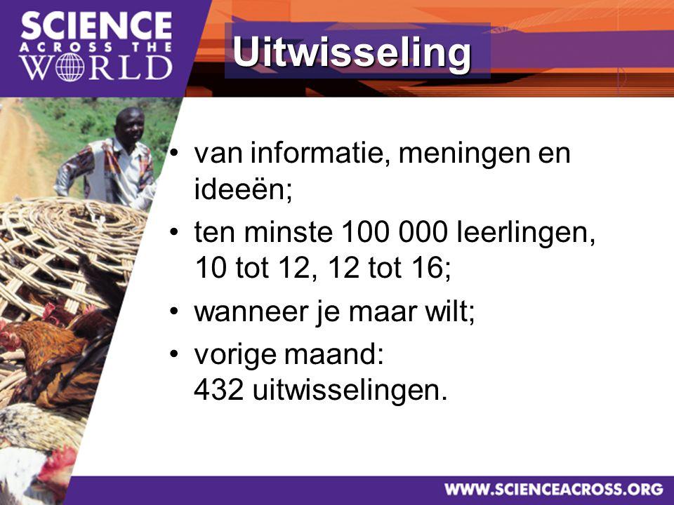 4 van informatie, meningen en ideeën; ten minste 100 000 leerlingen, 10 tot 12, 12 tot 16; wanneer je maar wilt; vorige maand: 432 uitwisselingen.