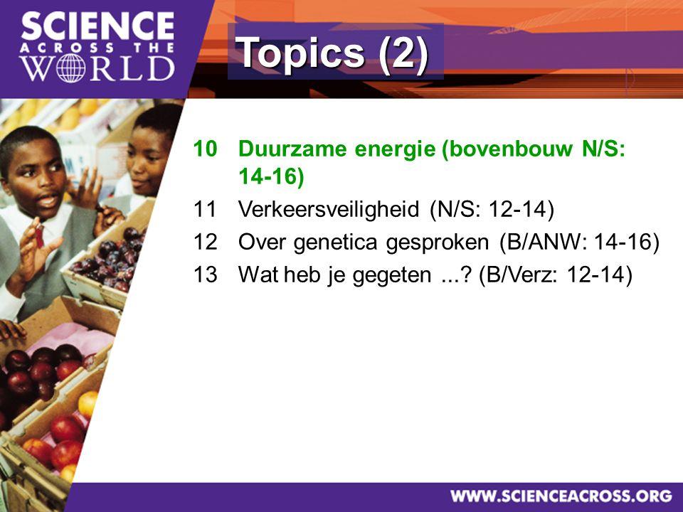 9 Topics (2) 10Duurzame energie (bovenbouw N/S: 14-16) 11Verkeersveiligheid (N/S: 12-14) 12Over genetica gesproken (B/ANW: 14-16) 13Wat heb je gegeten....