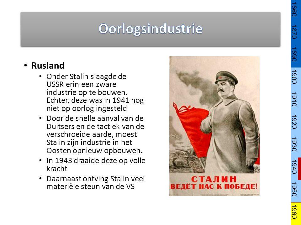 Rusland Onder Stalin slaagde de USSR erin een zware industrie op te bouwen. Echter, deze was in 1941 nog niet op oorlog ingesteld Door de snelle aanva