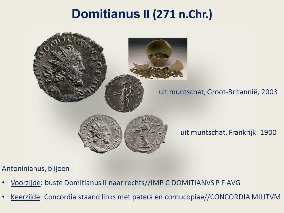 Domitianus II (271 n.Chr.) Antoninianus, biljoen Voorzijde: buste Domitianus II naar rechts//IMP C DOMITIANVS P F AVG Keerzijde: Concordia staand link