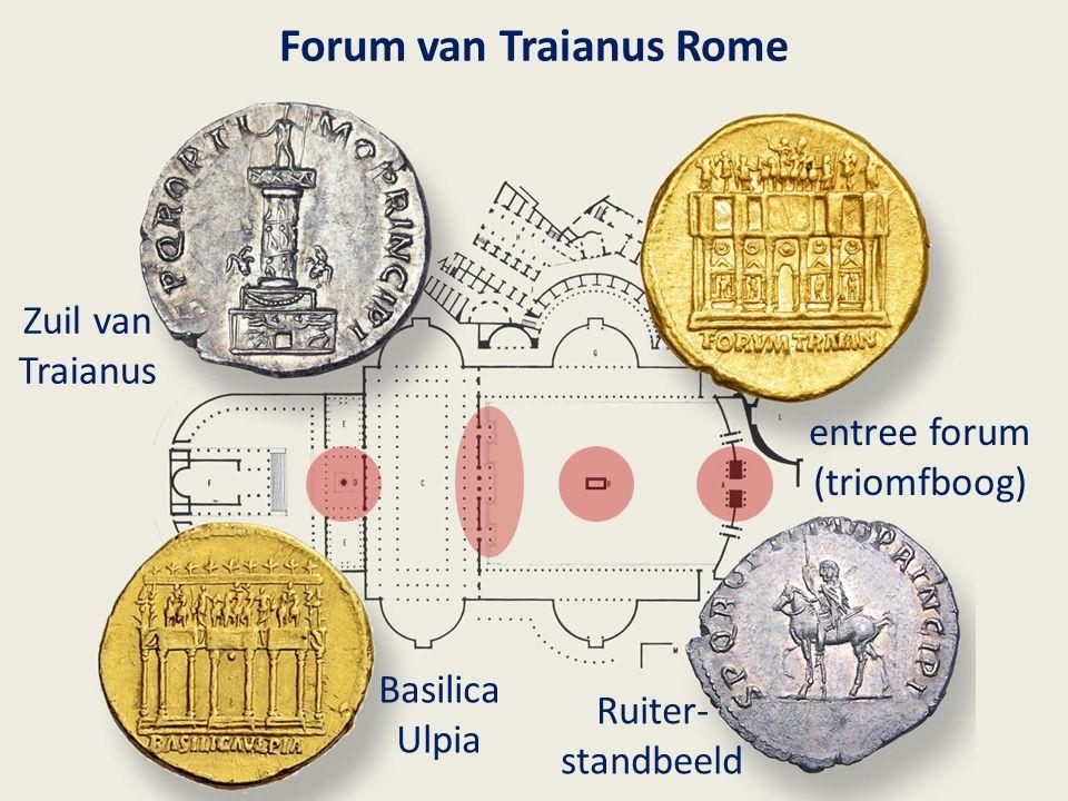 Forum van Traianus Rome Zuil van Traianus Basilica Ulpia entree forum (triomfboog) Ruiter- standbeeld